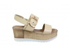 REPO 13270 Sandalo Zeppa Pelle Beige
