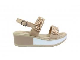 REPO 21210 Sandalo Zeppa Pelle Beige