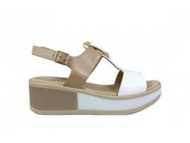 REPO 21211 Sandalo Zeppa Pelle Beige Bianco