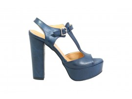 ADELE 5606 Sandalo Pelle Blu