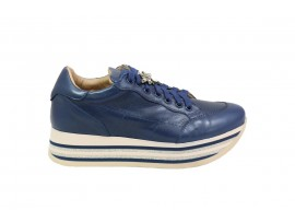 CROWN shine Sneaker Pelle Blu