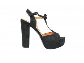 ADELE 5603 Sandalo Camoscio Nero