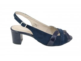CINZIA SOFT Sandalo Chanel Camoscio Blu