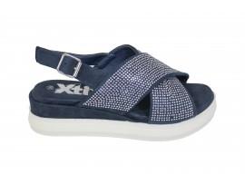 XTI Sandalo Zeppa Camoscio Blu
