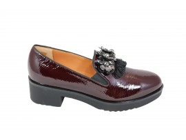 DONNA SOFT 7042 Mocassino Vernice Bordeaux